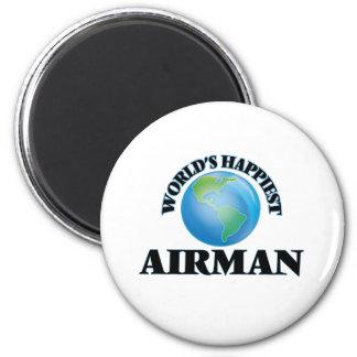 World's Happiest Airman 2 Inch Round Magnet