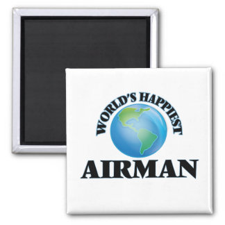 World's Happiest Airman 2 Inch Square Magnet