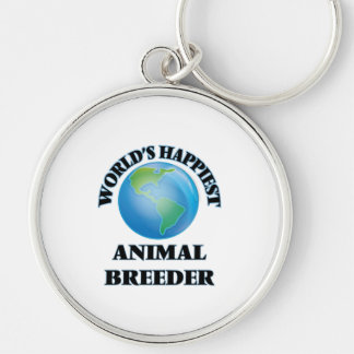 World's Happiest Animal Breeder Silver-Colored Round Keychain