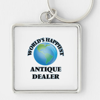World's Happiest Antique Dealer Silver-Colored Square Keychain
