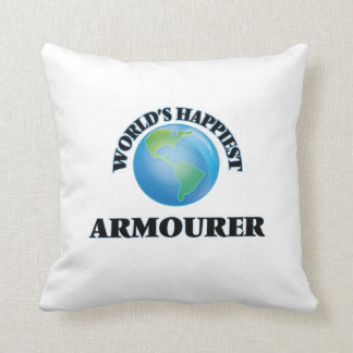 World's Happiest Armourer Throw Pillows