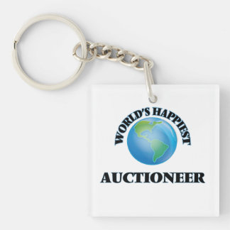 World's Happiest Auctioneer Single-Sided Square Acrylic Keychain