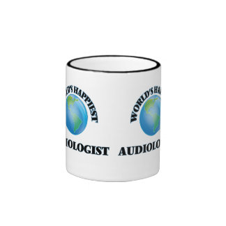 World's Happiest Audiologist Ringer Coffee Mug
