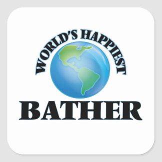 World's Happiest Bather Square Sticker