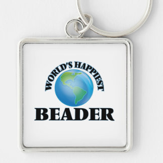 World's Happiest Beader Silver-Colored Square Keychain