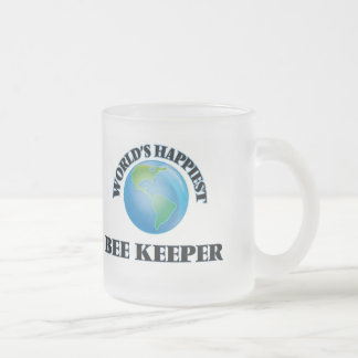 World's Happiest Bee Keeper 10 Oz Frosted Glass Coffee Mug