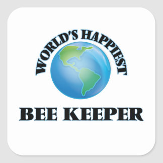 World's Happiest Bee Keeper Square Sticker