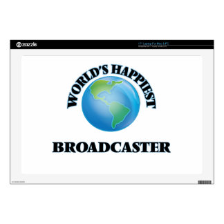 """World's Happiest Broadcaster 17"""" Laptop Decal"""