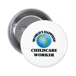World's Happiest Childcare Worker 2 Inch Round Button