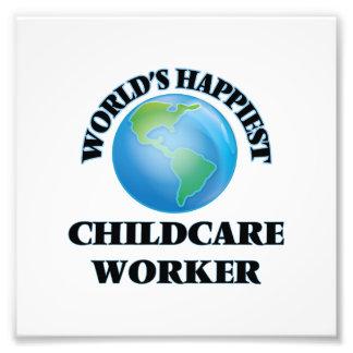 World's Happiest Childcare Worker Photo Print