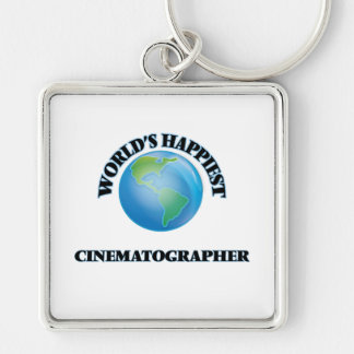 World's Happiest Cinematographer Silver-Colored Square Keychain
