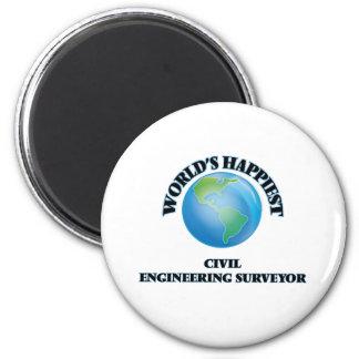 World's Happiest Civil Engineering Surveyor 2 Inch Round Magnet