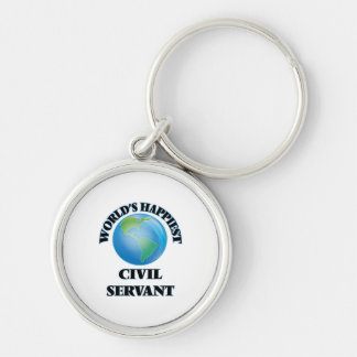 World's Happiest Civil Servant Silver-Colored Round Keychain