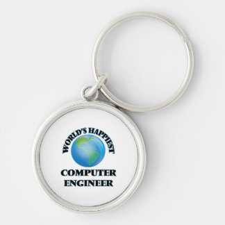 World's Happiest Computer Engineer Silver-Colored Round Keychain