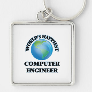 World's Happiest Computer Engineer Silver-Colored Square Keychain