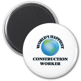 World's Happiest Construction Worker 2 Inch Round Magnet