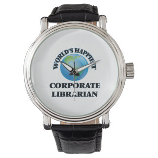World's Happiest Corporate Librarian Wristwatch