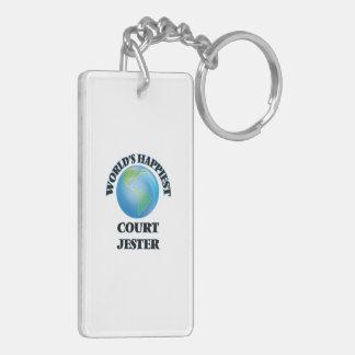 World's Happiest Court Jester Double-Sided Rectangular Acrylic Keychain