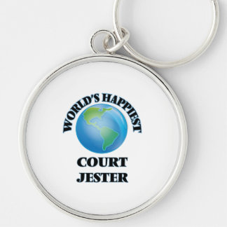 World's Happiest Court Jester Silver-Colored Round Keychain
