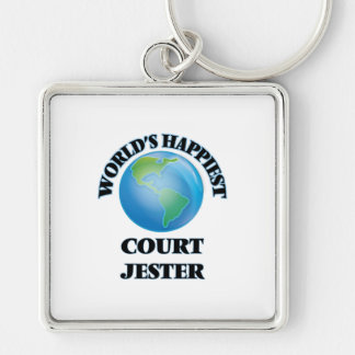 World's Happiest Court Jester Silver-Colored Square Keychain