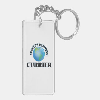 World's Happiest Currier Double-Sided Rectangular Acrylic Keychain