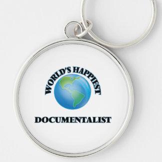 World's Happiest Documentalist Silver-Colored Round Keychain