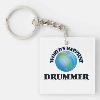 World's Happiest Drummer Single-Sided Square Acrylic Keychain