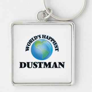World's Happiest Dustman Silver-Colored Square Keychain