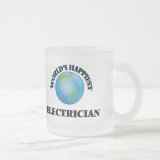 World's Happiest Electrician 10 Oz Frosted Glass Coffee Mug