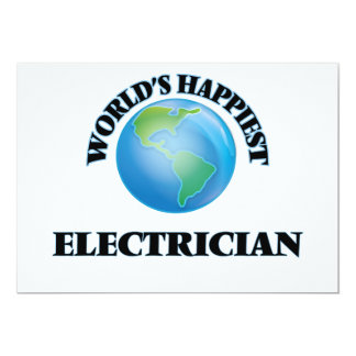 World's Happiest Electrician 5x7 Paper Invitation Card