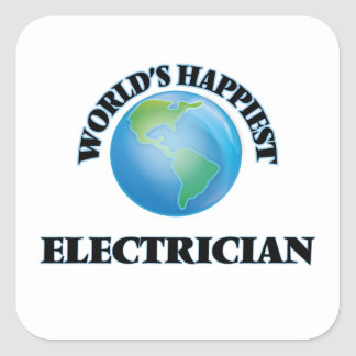 World's Happiest Electrician Square Sticker
