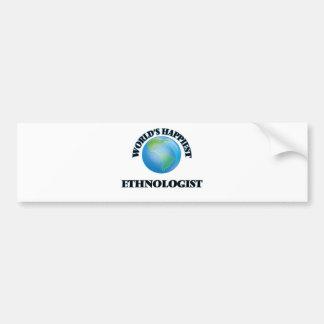 World's Happiest Ethnologist Car Bumper Sticker