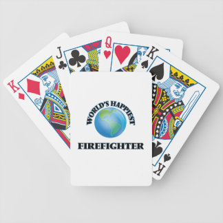 World's Happiest Firefighter Bicycle Playing Cards