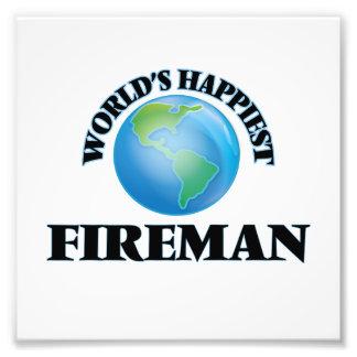 World's Happiest Fireman Photo Print
