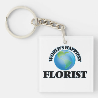 World's Happiest Florist Single-Sided Square Acrylic Keychain