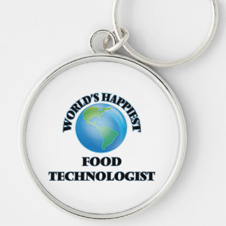 World's Happiest Food Technologist Silver-Colored Round Keychain