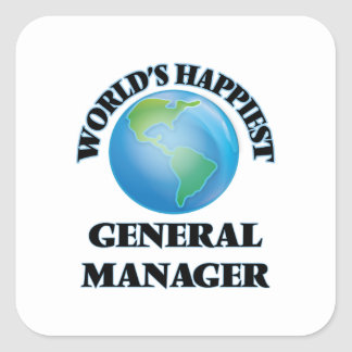 World's Happiest General Manager Square Sticker