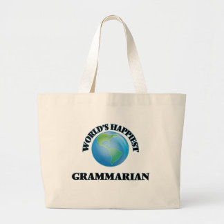 World's Happiest Grammarian Jumbo Tote Bag
