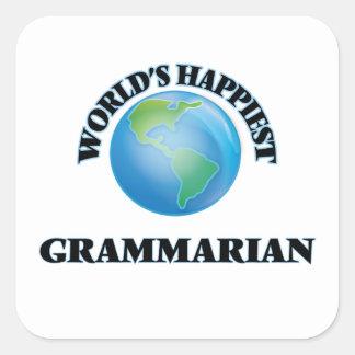 World's Happiest Grammarian Square Sticker
