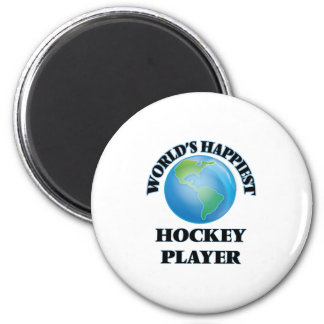 World's Happiest Hockey Player 2 Inch Round Magnet