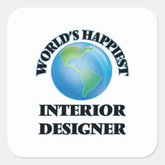 World's Happiest Interior Designer Square Sticker