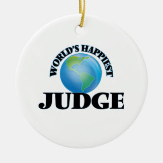 World's Happiest Judge Double-Sided Ceramic Round Christmas Ornament