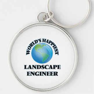World's Happiest Landscape Engineer Silver-Colored Round Keychain