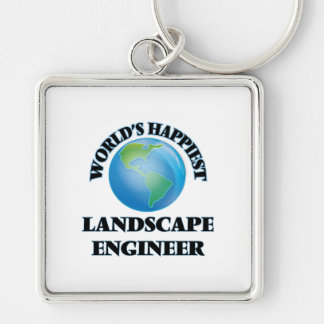 World's Happiest Landscape Engineer Silver-Colored Square Keychain