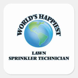 World's Happiest Lawn Sprinkler Technician Square Sticker