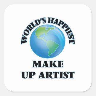 World's Happiest Make Up Artist Square Sticker