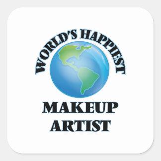 World's Happiest Makeup Artist Square Sticker