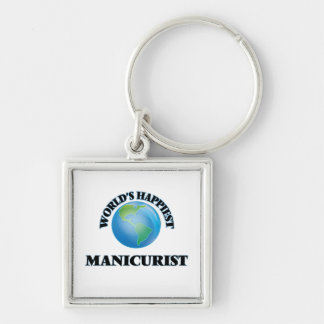 World's Happiest Manicurist Silver-Colored Square Keychain