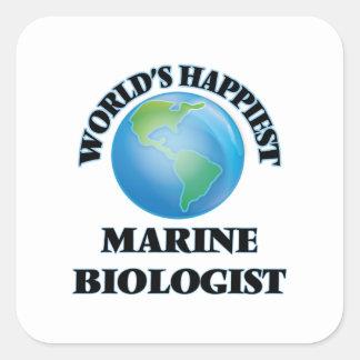 World's Happiest Marine Biologist Square Sticker