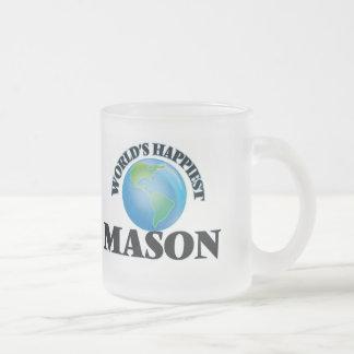 World's Happiest Mason 10 Oz Frosted Glass Coffee Mug
